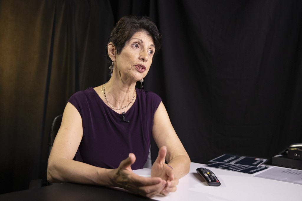 In this June 19, 2019, photo, Diane Foley, mother of journalist James Foley, who was killed by the Islamic State terrorist group in a graphic video re...
