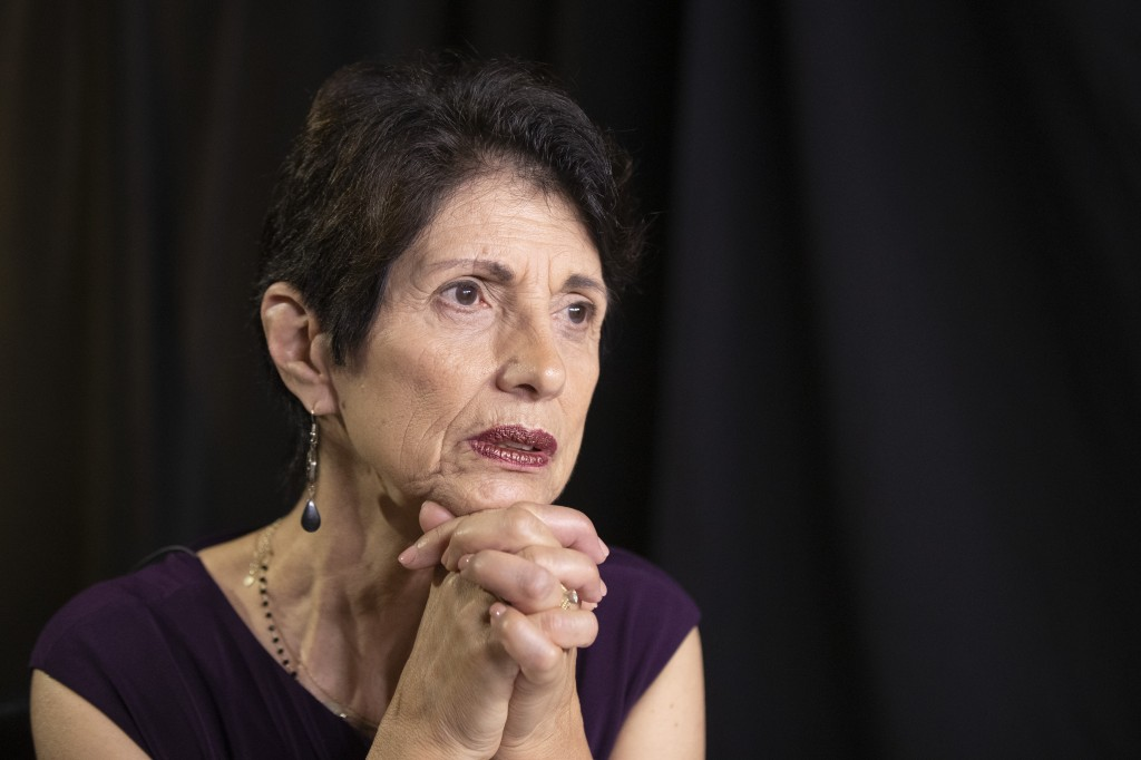 In this June 19, 2019, photo, Diane Foley, mother of journalist James Foley, who was killed by the Islamic State terrorist group in a graphic video re