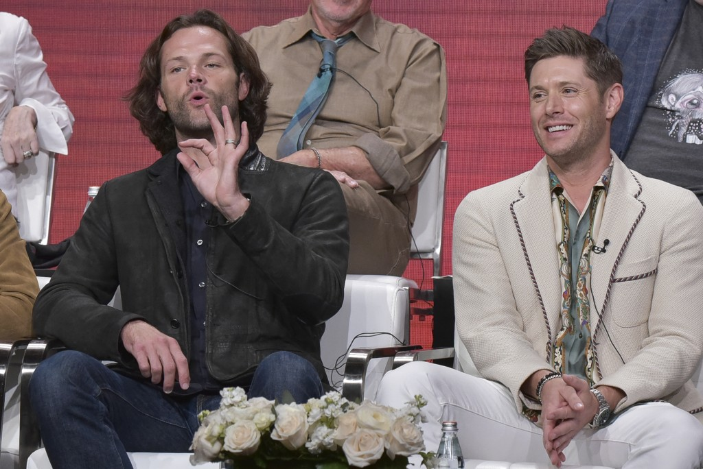 "Jared Padalecki, left, and and Jensen Ackles participate in The CW ""Supernatural: Final Season"" panel during the Summer 2019 Television Critics Associ..."