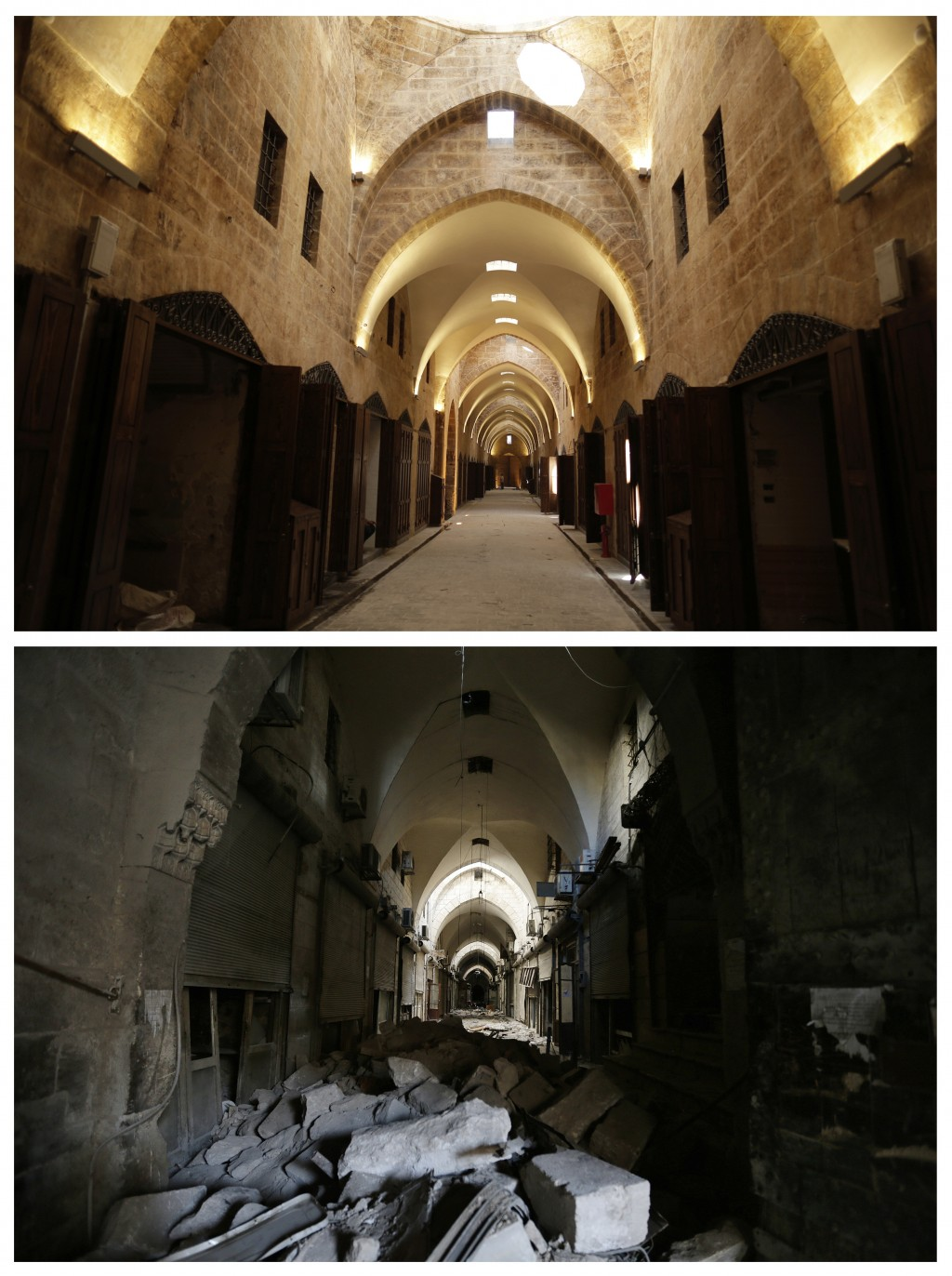 This combo of two photographs shows a Saturday, Jan. 21, 2017 photo, bottom, shows the debris of al-Saqatiyah Market, and the same market after has be