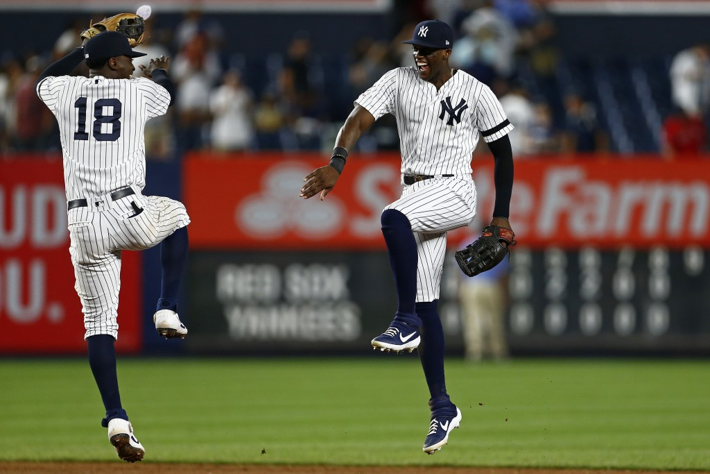 New York Yankees right fielder Cameron Maybin celebrates with shortstop Didi Gregorius (18) after defeating the Boston Red Sox in a baseball game on S...