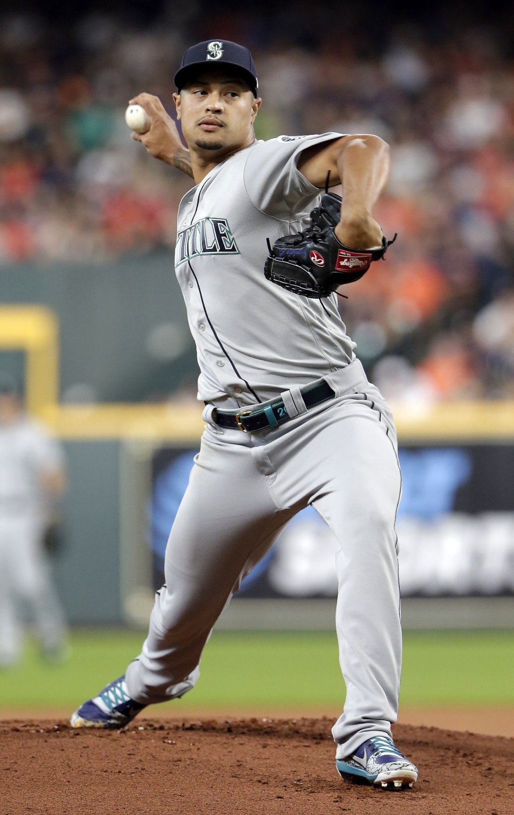 Seattle Mariners starting pitcher Sam Tuivailala throws during the first inning of a baseball game against the Houston Astros, Sunday, Aug. 4, 2019, i...