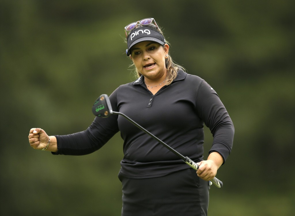 Lizette Salas of the United States celebrates getting a birdie on the 15th during the final round of the Women's British Open golf championship at Wob...