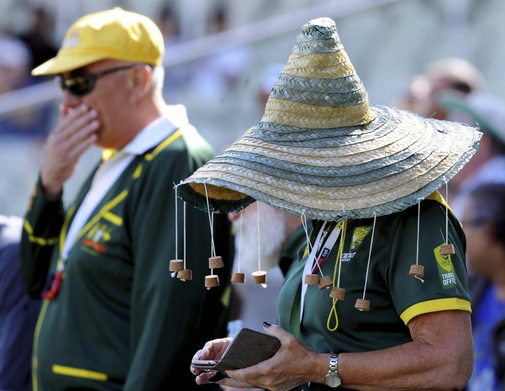 Australia fan wait for the start of day five of the first Ashes Test cricket match between England and Australia at Edgbaston in Birmingham, England, ...