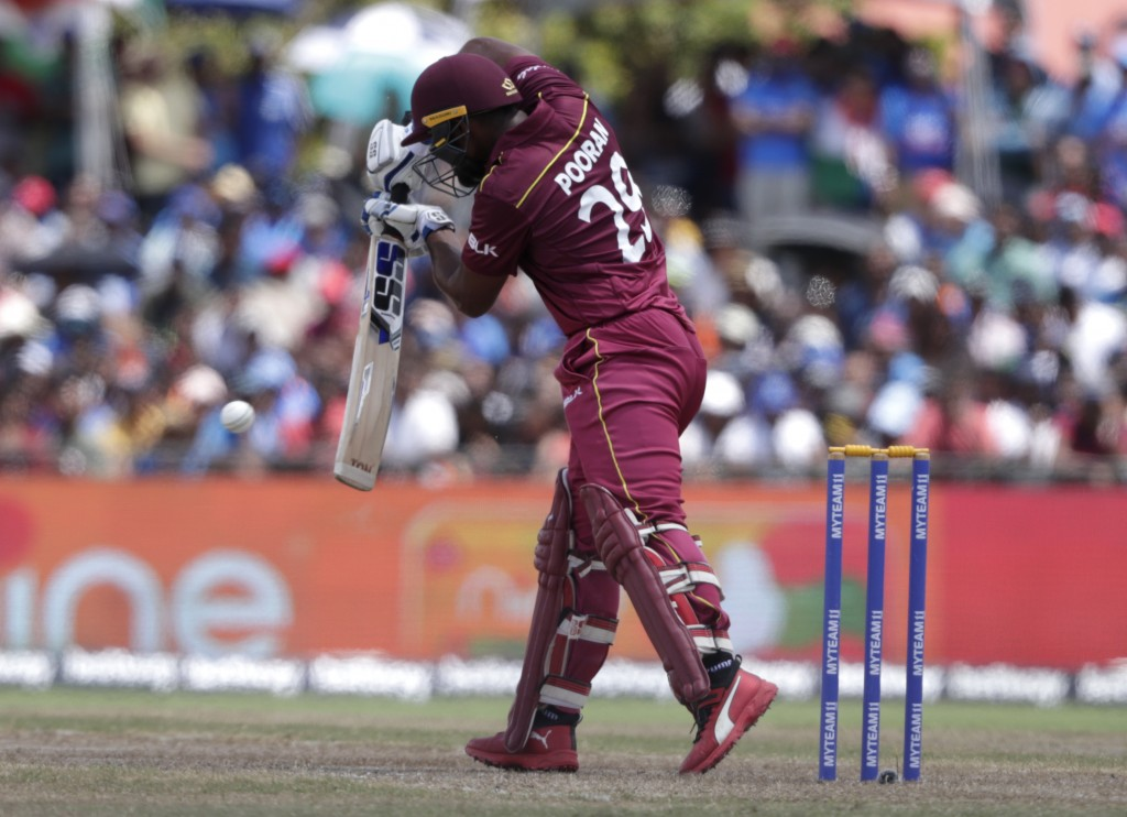 West Indies' Nicholas Pooran bats during the second Twenty20 international cricket match against India, Sunday, Aug. 4, 2019, in Lauderhill, Fla. (AP ...