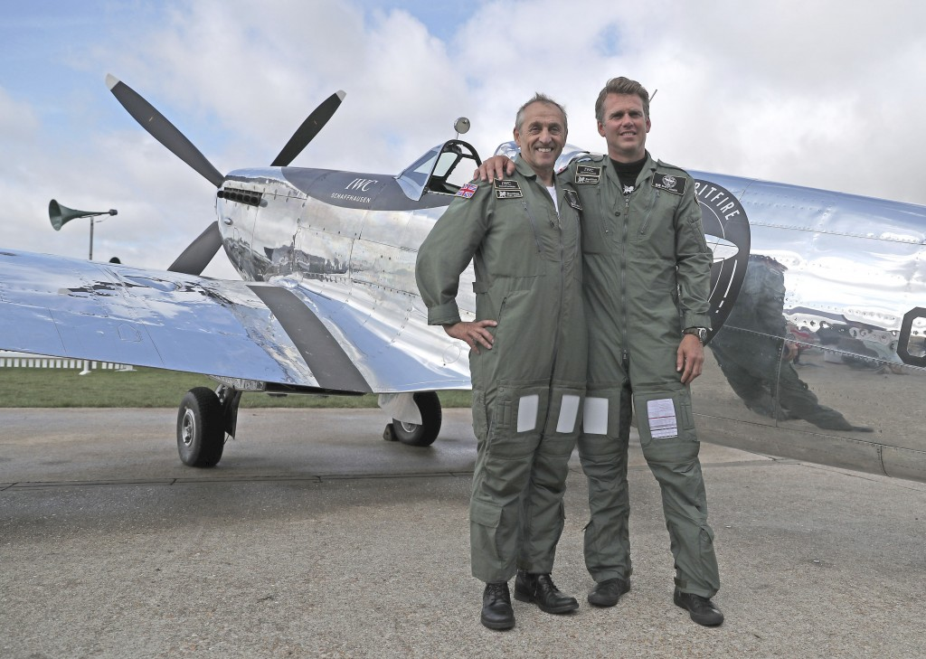 IWC Silver Spitfire pilots Matt Jones, right, and Steve Boultbee Brooks with their newly restored MK IX Spitfire at Goodwood Aerodrome in Goodwood, En...