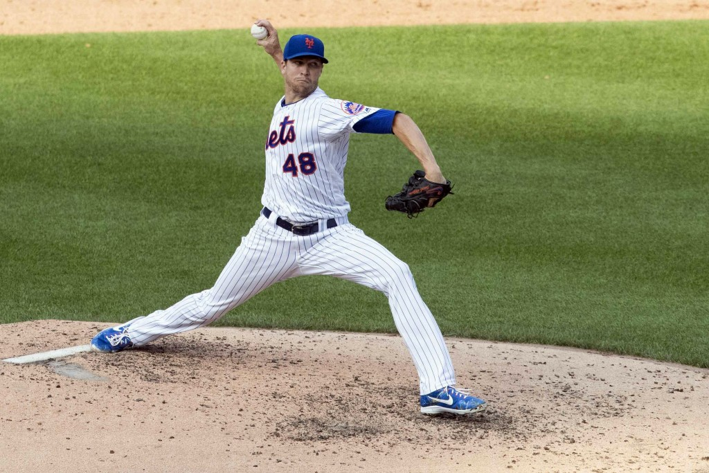 New York Mets starting pitcher Jacob deGrom delivers during the sixth inning of a baseball game against the Miami Marlins, Monday, Aug. 5, 2019, in Ne