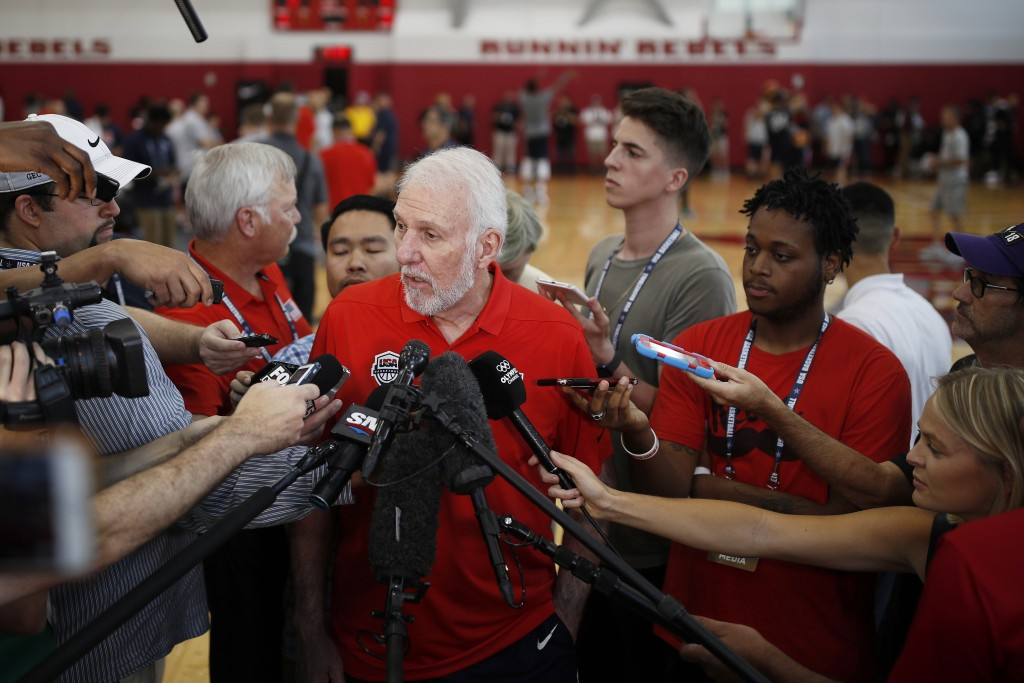 FILE - In this July 26, 2018, file photo, head coach head coach Gregg Popovich speaks with the media during a training camp for USA Basketball, in Las...