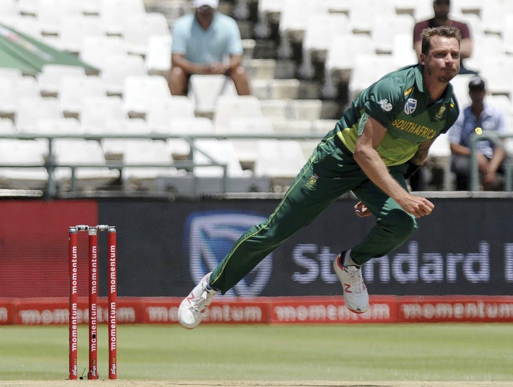 FILE - In this file photo dated Wednesday, Jan 30, 2019, South Africa's Dale Steyn in action during the ODI cricket match against Pakistan at the Newl