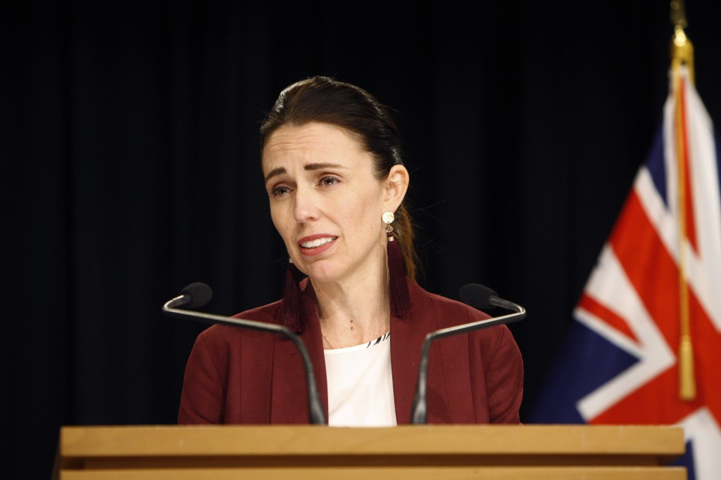 New Zealand's Prime Minister Jacinda Ardern talks to the media on Monday, Aug. 5, 2019, in Wellington, New Zealand. Ardern spoke about the El Paso mas...