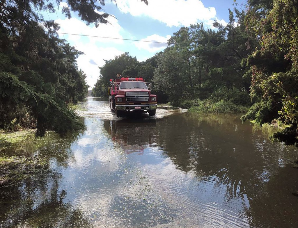 The Ocracoke Volunteer Fire Department makes rounds through the village on Friday, Sept. 6, 2019 on Ocracoke Island, N.C., in the aftermath of Hurrica...