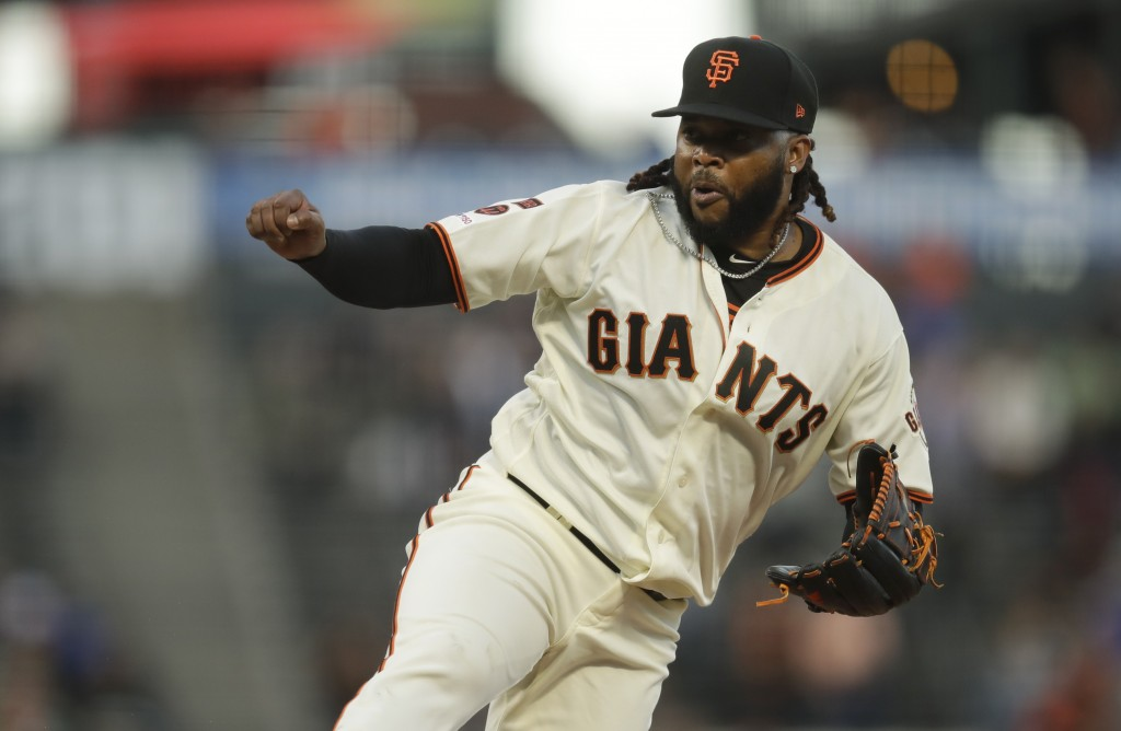 San Francisco Giants pitcher Johnny Cueto works against the Pittsburgh Pirates during the first inning of a baseball game Tuesday, Sept. 10, 2019, in ...