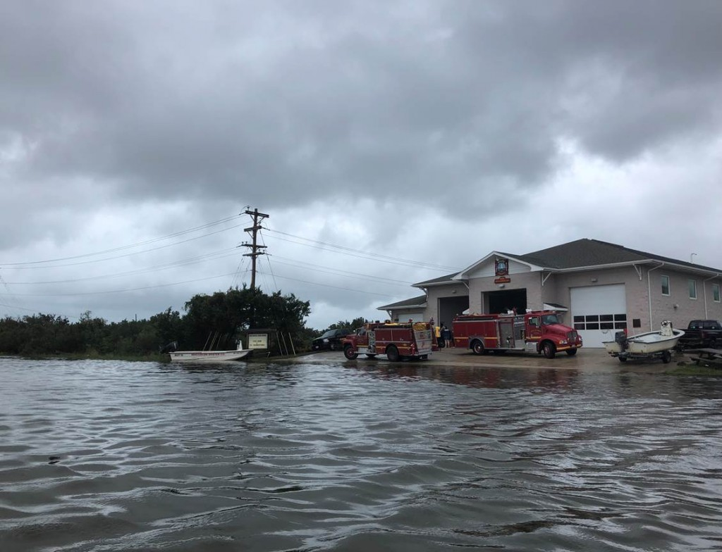 The Ocracoke Village Fire Department is used as a command center Friday, Sept. 6, 2019 on Ocracoke Island, N.C., in the aftermath of Hurricane Dorian....