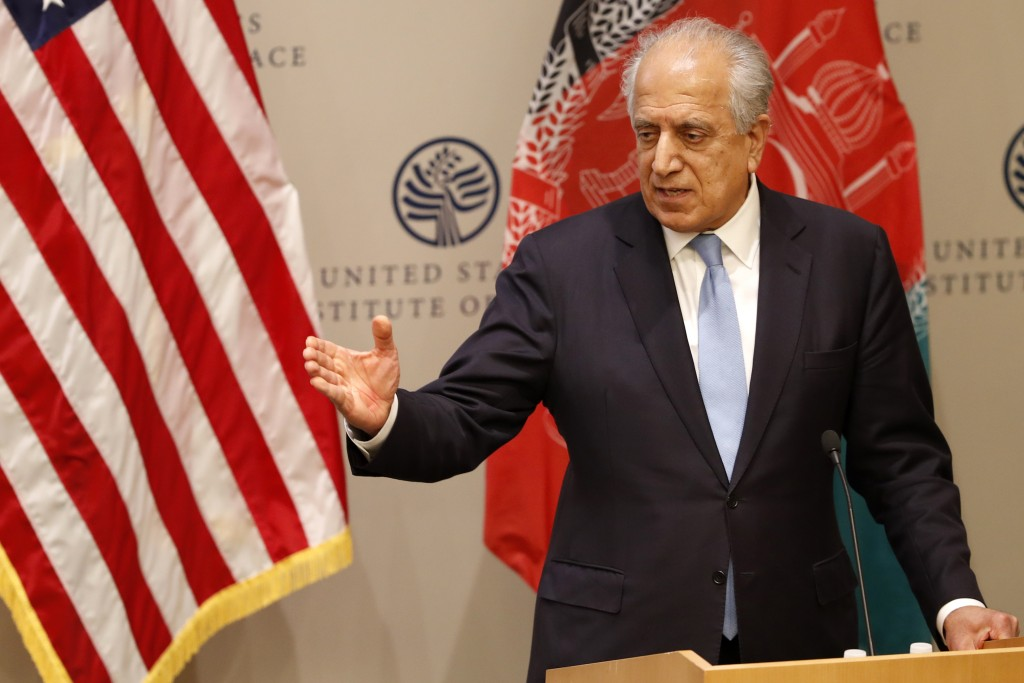 FILE - In this Feb. 8, 2019 file photo, Special Representative for Afghanistan Reconciliation Zalmay Khalilzad speaks on the prospects for peace at th...