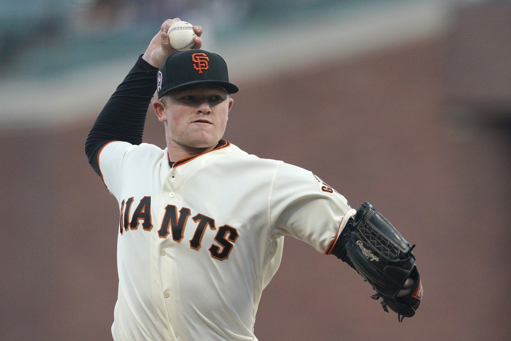 San Francisco Giants pitcher Logan Webb works against the Pittsburgh Pirates during the first inning of a baseball game Wednesday, Sept. 11, 2019, in ...