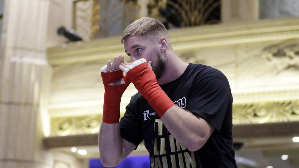 Otto Wallin, of Sweden, attends an open workout Tuesday, Sept. 10, 2019, in Las Vegas. Wallin will face Tyson Fury in a heavyweight boxing match Satur