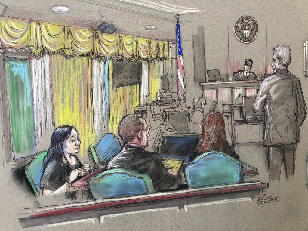 FILE - In this April 15, 2019, file court sketch, Yujing Zhang, left, a Chinese woman charged with lying to illegally enter President Donald Trump's M...