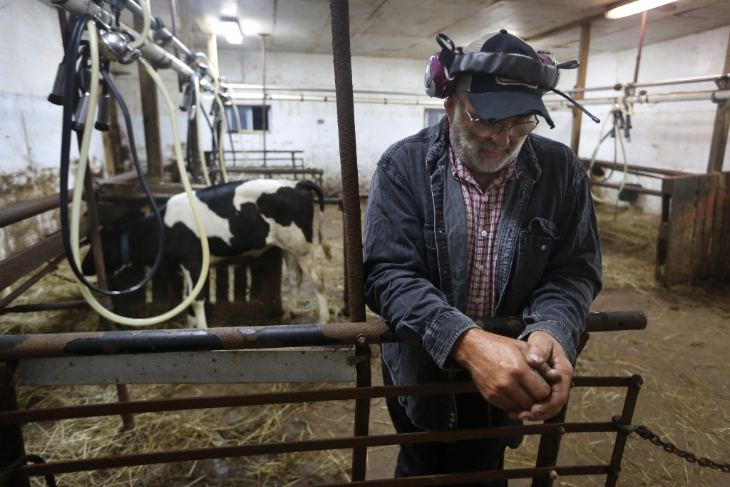 In this Thursday Aug. 15, 2019 photo, dairy farmer Fred Stone pauses while working in the milking room at his farm in Arundel, Maine. Fred Stone and h