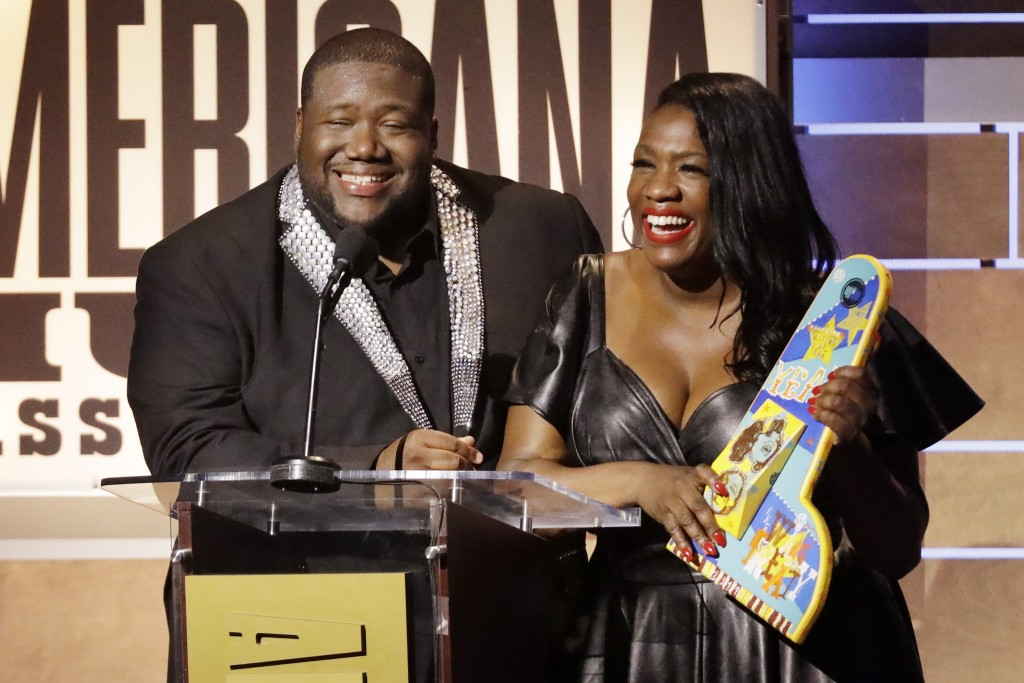 Michael and Tanya Trotter, of the duo The War and Treaty, accept the Emerging Act of the Year Award during the Americana Honors & Awards show Wednesda