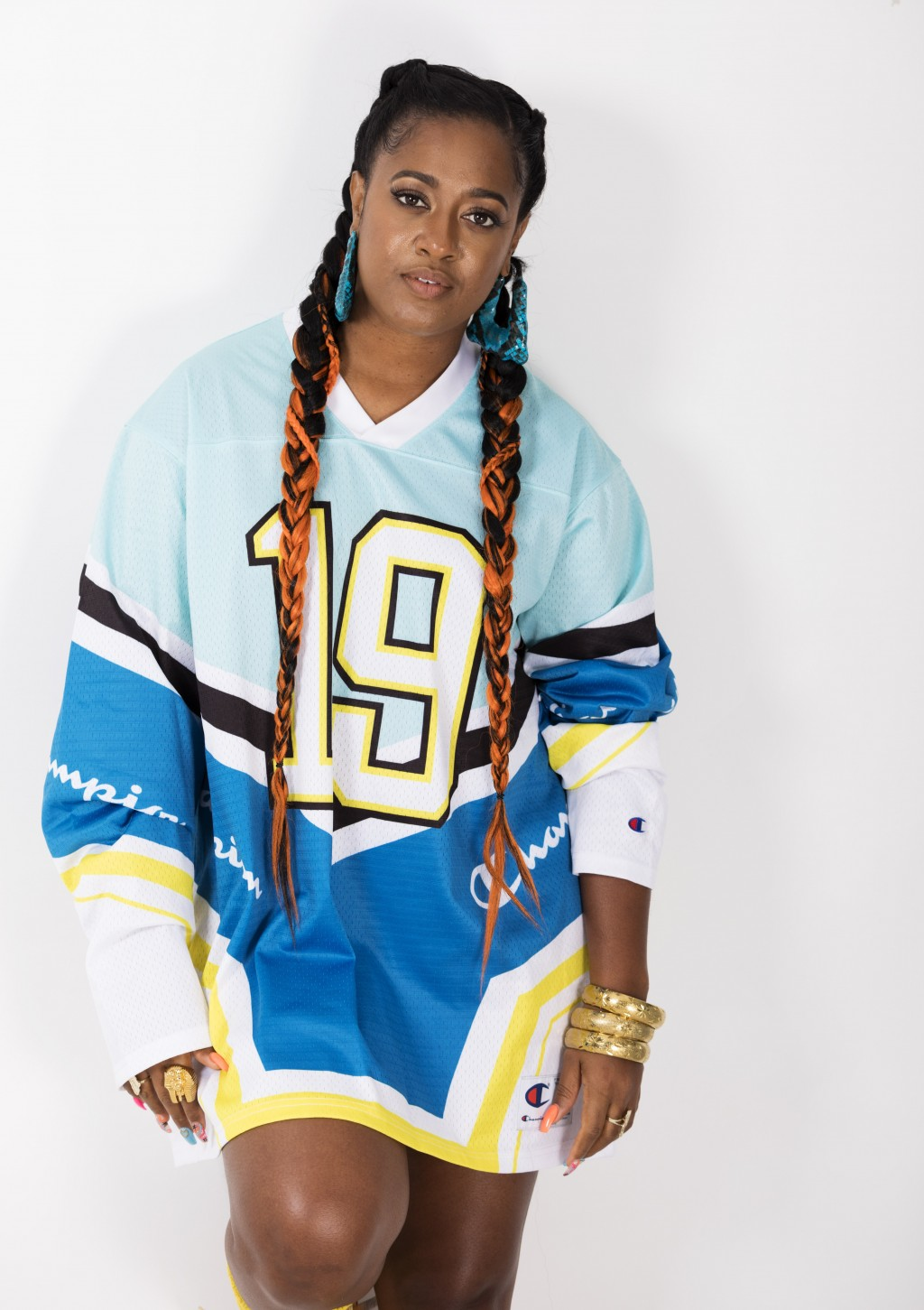 """This Aug. 22, 2019 photo shows Rapsody posing for a portrait in New York to promote her latest album """"Eve."""" (Photo by Brian Ach/Invision/AP)"""
