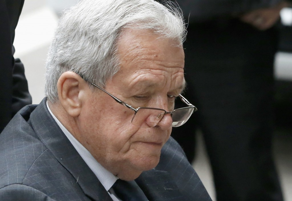 FILE - In this April 27, 2016, file photo, former House Speaker Dennis Hastert leaves the federal courthouse in Chicago. An Illinois judge has determi...
