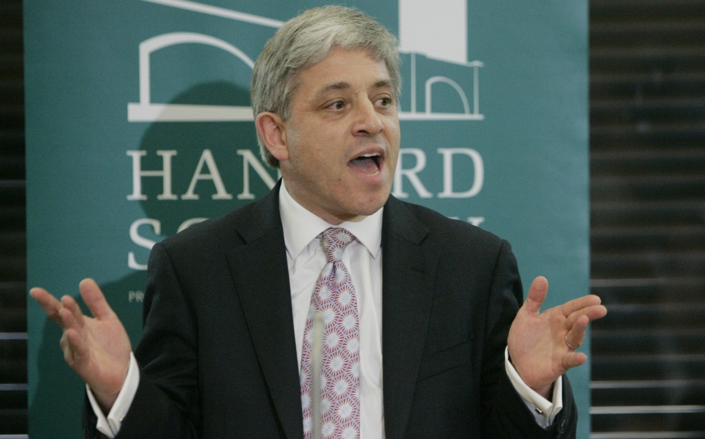FILE - In this Monday, June, 15, 2009 file photo, British Conservative Member of Parliament John Bercow speaks at a hustings event for candidates for