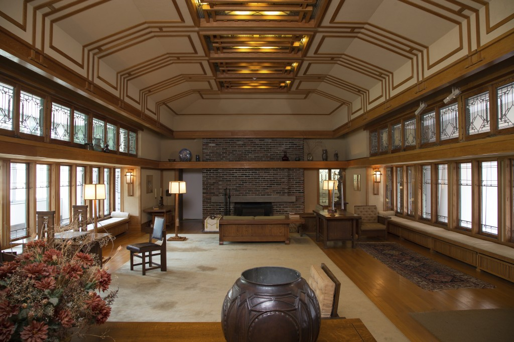 This photo provided by The Metropolitan Museum of Art shows the Frank Lloyd Wright Room located in The American Wing at the museum in New York. The ro...