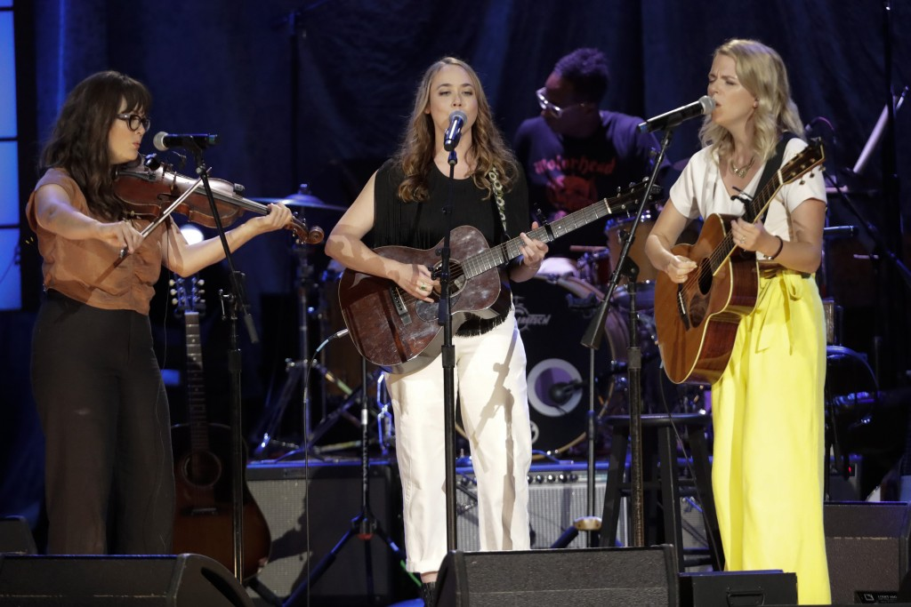 Sara Watkins, from left, Sarah Jarosz, and Aoife O'Donovan, of I'm With Her, performs at the Americana Honors & Awards show Wednesday, Sept. 11, 2019,