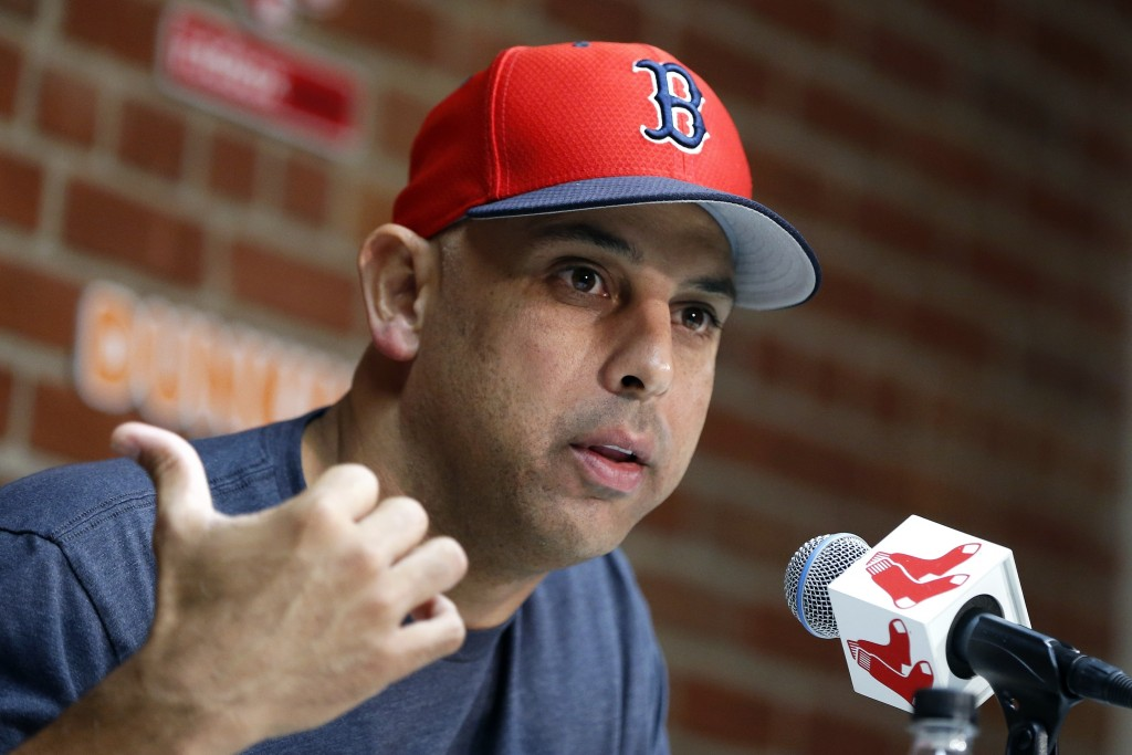 Boston Red Sox manager Alex Cora talks about the dismissal of president of baseball operations Dave Dombrowski, during a news conference before a base...