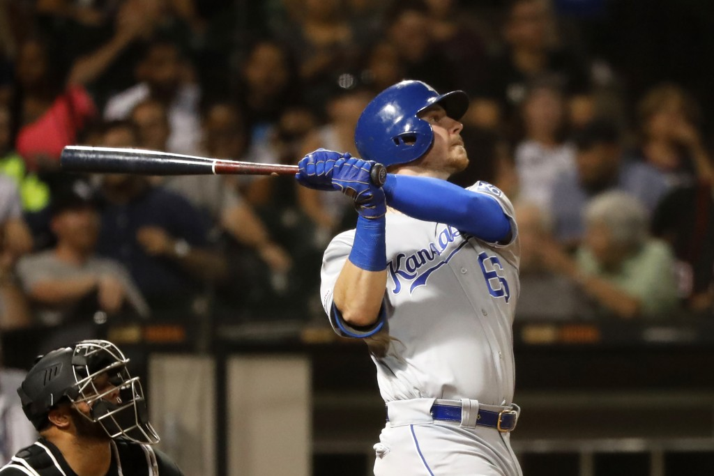 Kansas City Royals' Ryan O'Hearn his home run off Chicago White Sox starting pitcher Reynaldo Lopez during the fifth inning of a baseball game Wednesd...