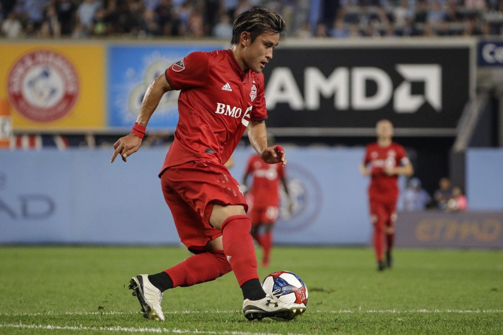 Toronto FC's Tsubasa Endoh (31) looks to pass during the second half of an MLS soccer match against New York City FC Wednesday, Sept. 11, 2019, in New...