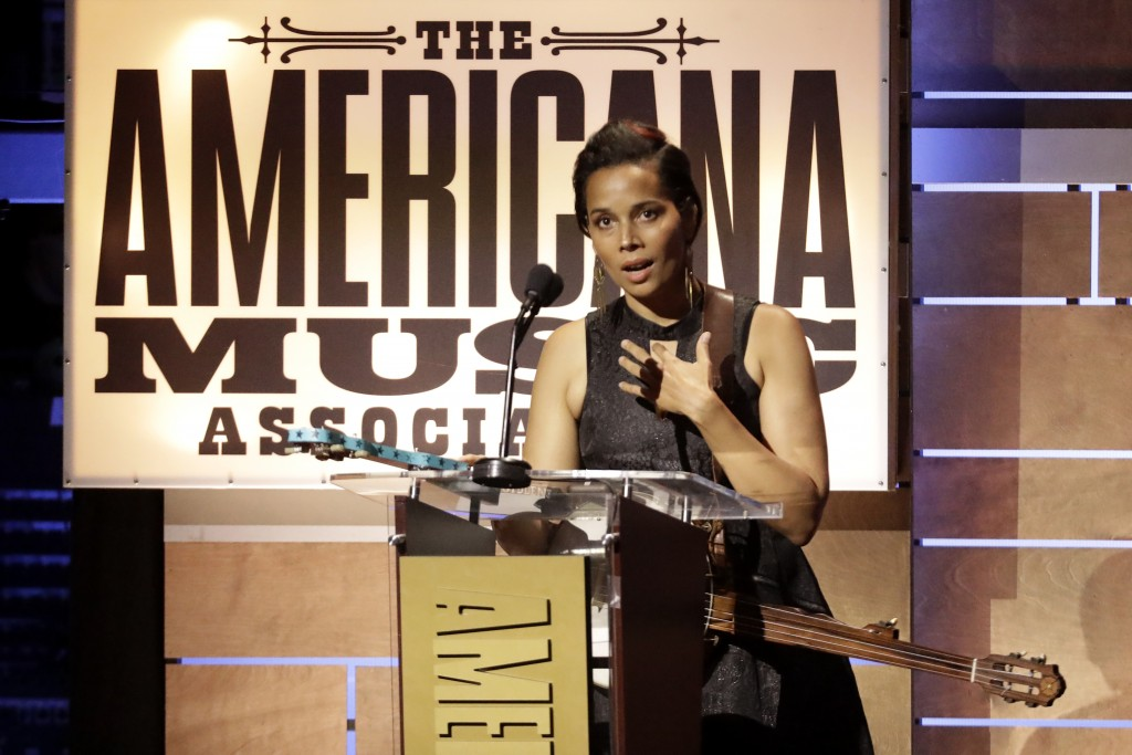 Rhiannon Giddens accepts the Legacy of Americana Award at the Americana Honors & Awards show Wednesday, Sept. 11, 2019, in Nashville, Tenn. (AP Photo/...