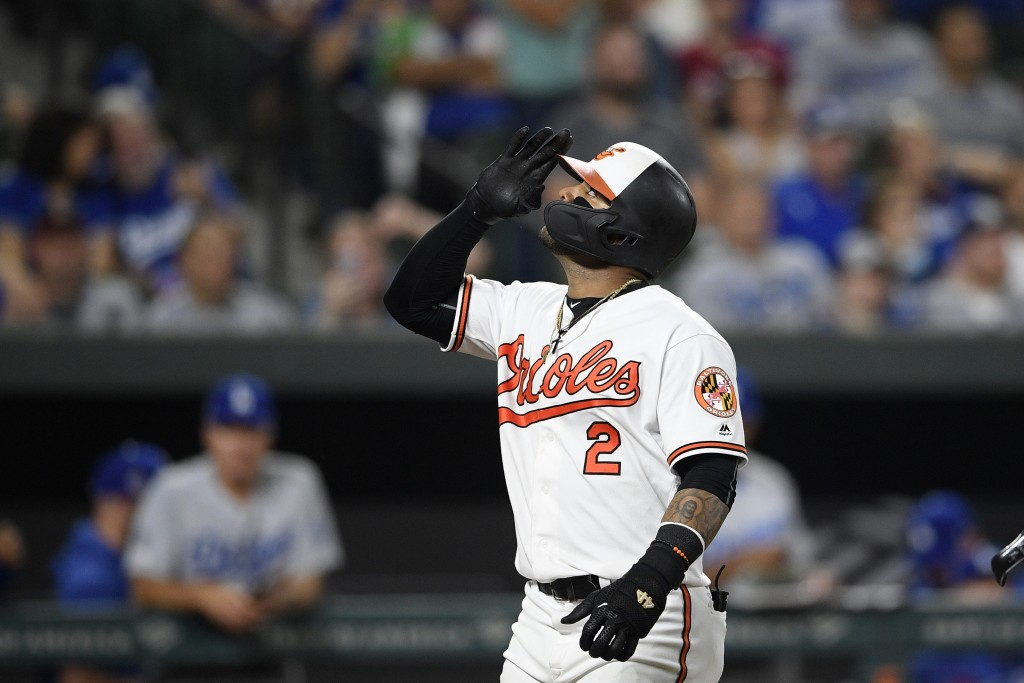 Baltimore Orioles' Jonathan Villar celebrates his three-run home run during the seventh inning of the team's baseball game against the Los Angeles Dod...