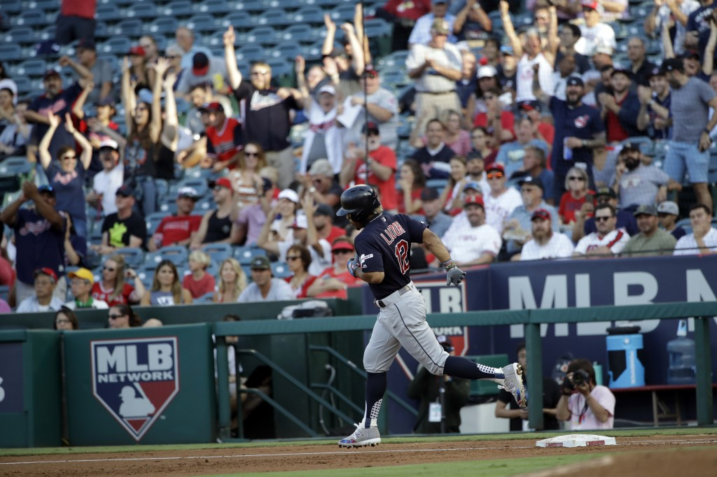 Cleveland Indians' Francisco Lindor runs the bases after his two-run home run against the Los Angeles Angels during the second inning of a baseball ga