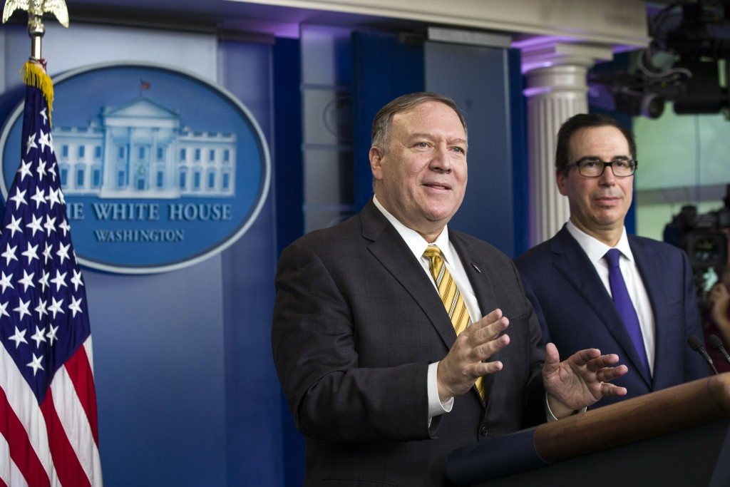 Secretary of State Mike Pompeo and Treasury Secretary Steve Mnuchin answer questions during a briefing on terrorism financing at the White House Tuesd...