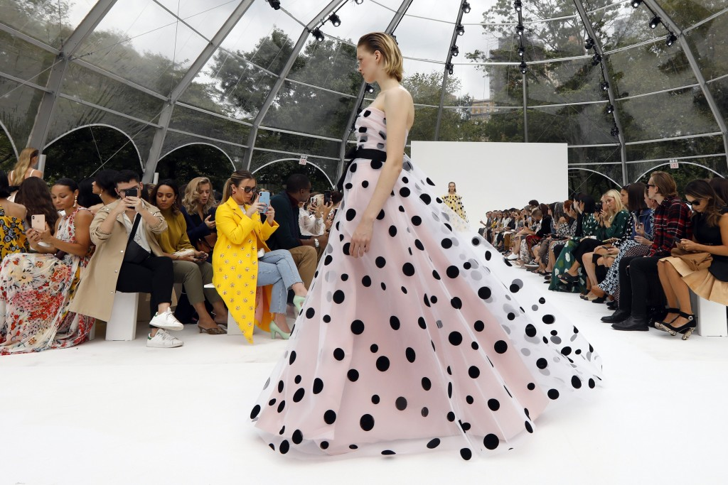 CORRECTS CAPTION AND BYLINE FOR FASHION CAROLINA HERRERA - The Carolina Herrera collection is modeled during Fashion Week, in New York, Monday, Sept.
