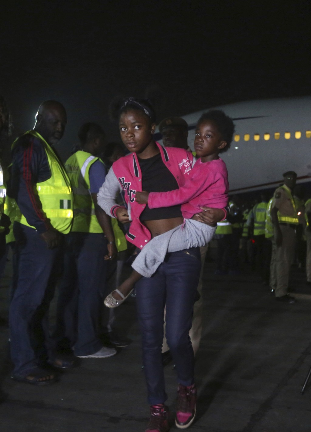 Nigerian returnees from South Africa due to recently violence targeted at foreigners arrive on an Air Peace airline at the Murtala Muhammed Internatio...