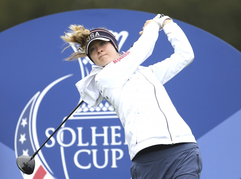 Nelly Korda of the US tees off on the 5th hole during a practice round for the Solheim cup at Gleneagles, Auchterarder, Scotland, Thursday, Sept. 12, ...