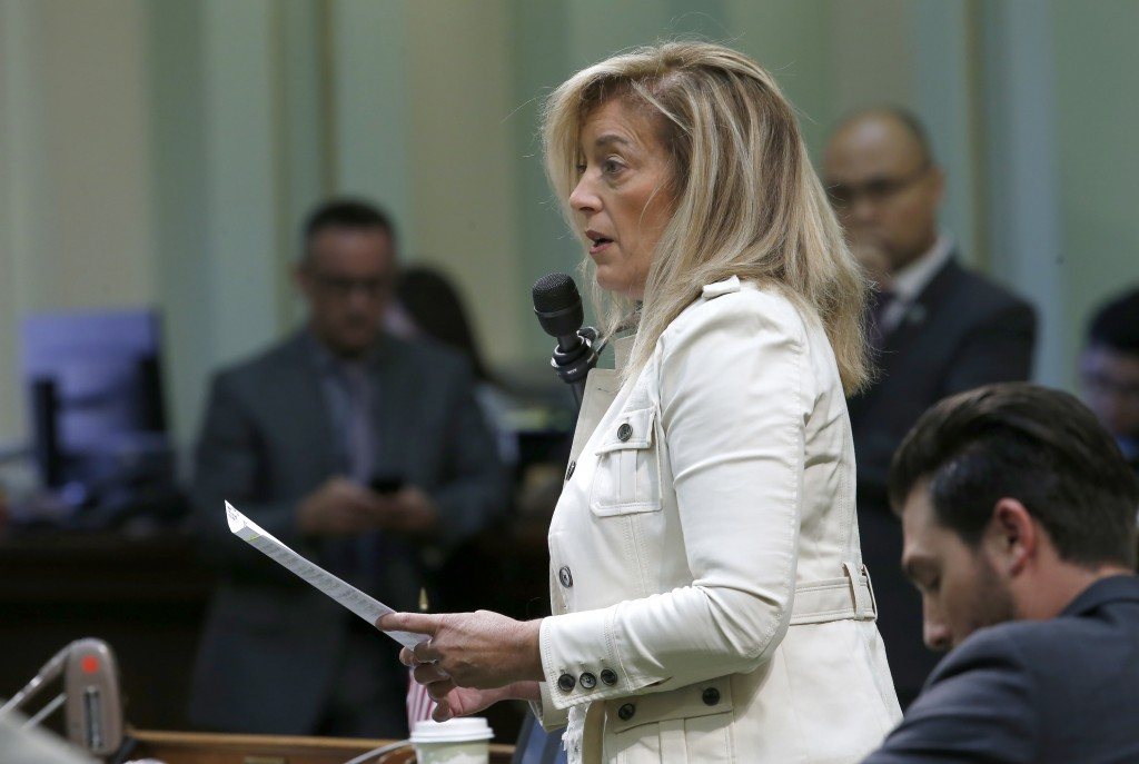 Assembly Republican Leader Marie Waldron, of Escondido, urges lawmakers to reject a measure to give new wage and benefit protections at the so-called ...