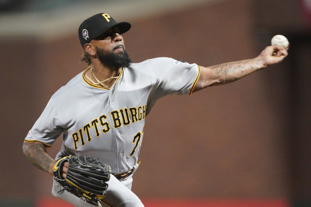Pittsburgh Pirates pitcher Felipe Vazquez throws to a San Francisco Giants batter during the ninth inning of a baseball game Wednesday, Sept. 11, 2019...