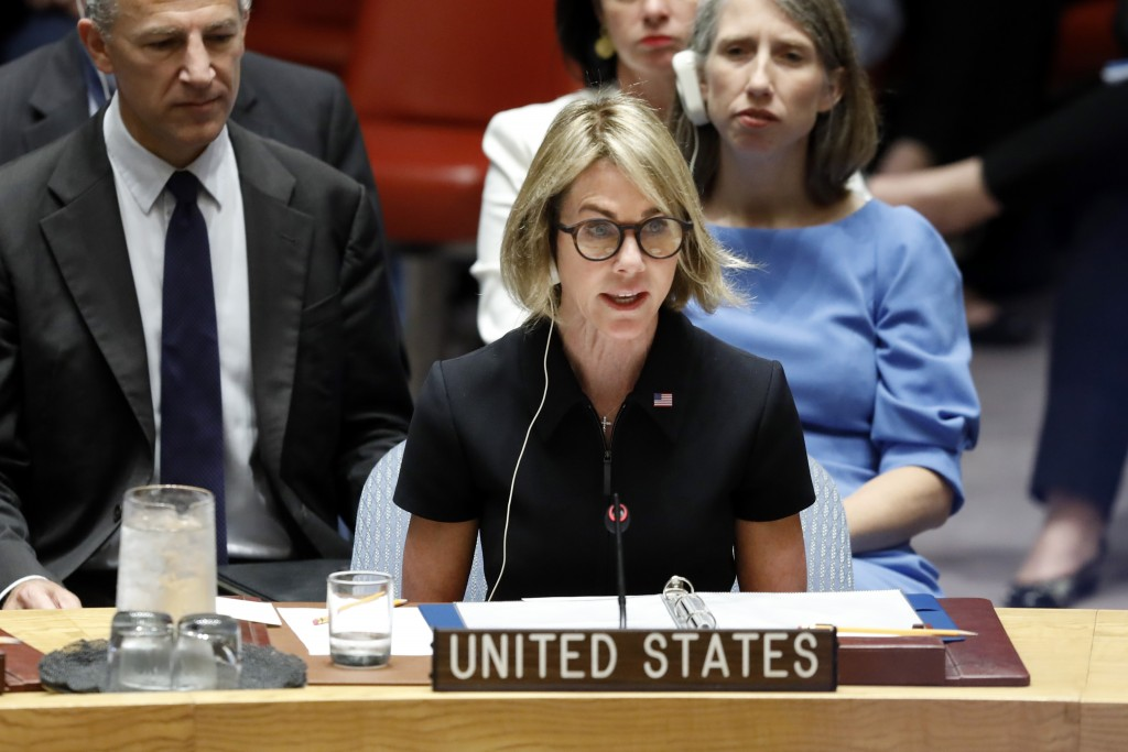 New U.S. Ambassador Kelly Craft addresses her first Security Council meeting, at United Nations headquarters, Thursday, Sept. 12, 2019. (AP Photo/Rich...