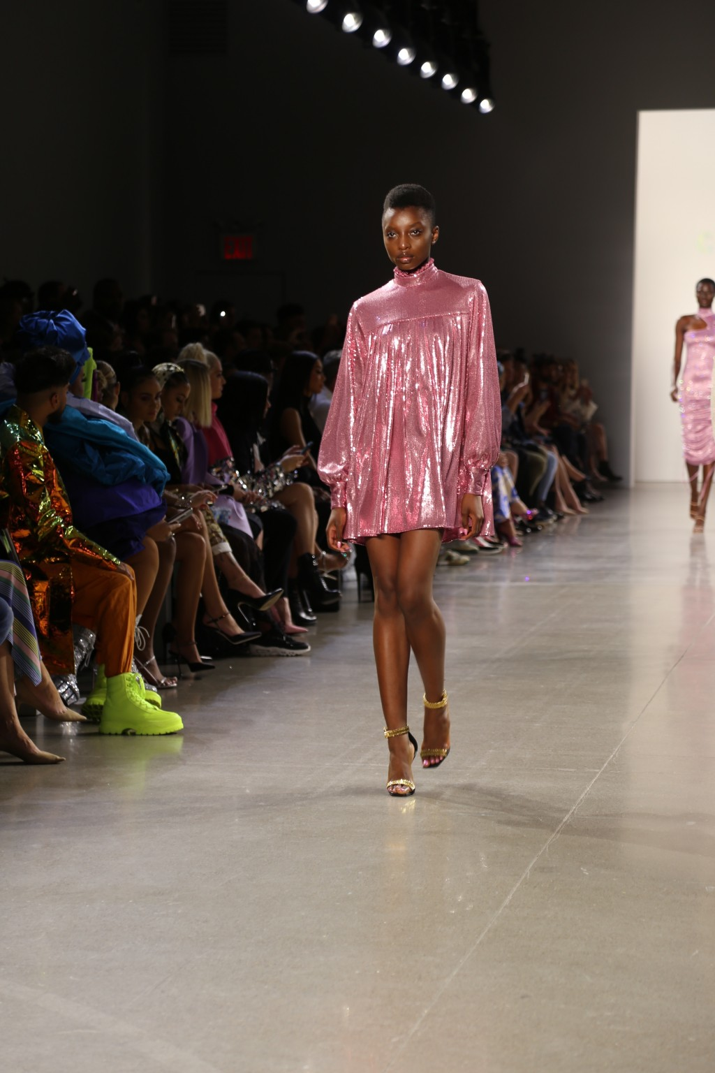 A model wears fashion from the Christian Cowan collection during Fashion Week in New York on Tuesday, Sept. 10, 2019. (AP Photo/Ragan Clark)