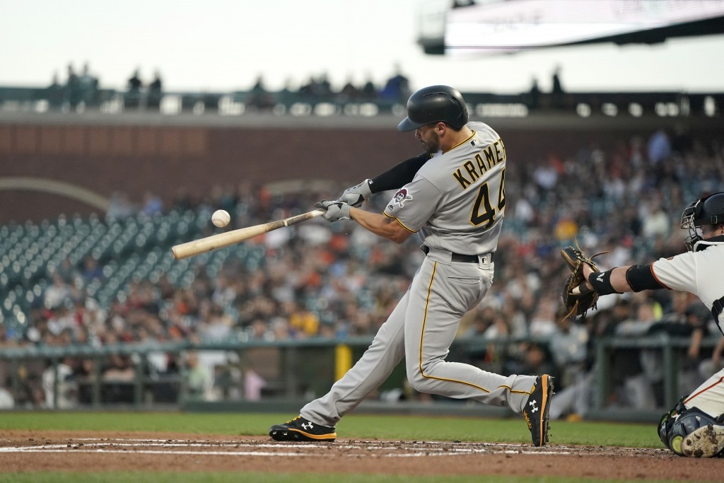 Pittsburgh Pirates' Kevin Kramer (44) hits a single to drive in a run against the San Francisco Giants during the second inning of a baseball game Wed...