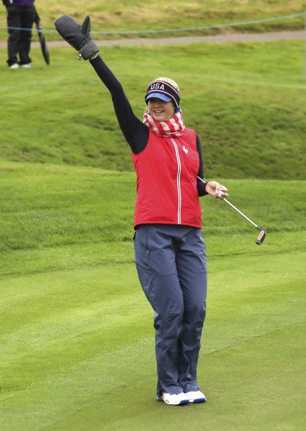 Jessica Korda of the US after holing a putt on the 3rd green during a practice round for the Solheim cup at Gleneagles, Auchterarder, Scotland, Thursd...