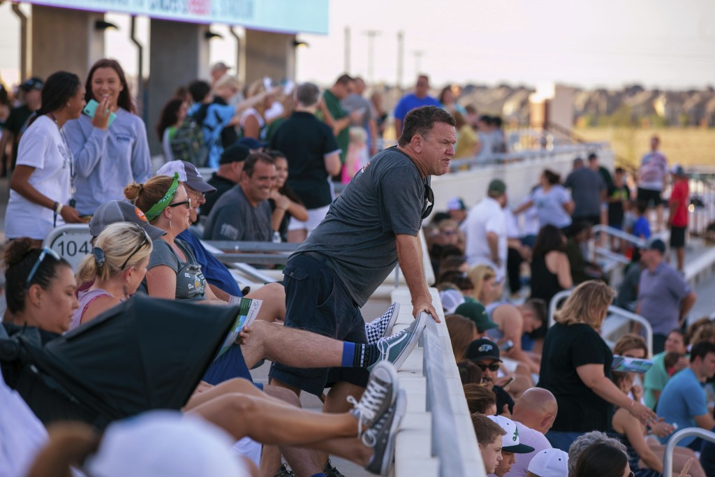 Mike Svoboda, from Prosper, Texas, watches the field during the opening of the new Children's Health Stadium at Prosper ISD on Saturday, Aug. 17, 2019...