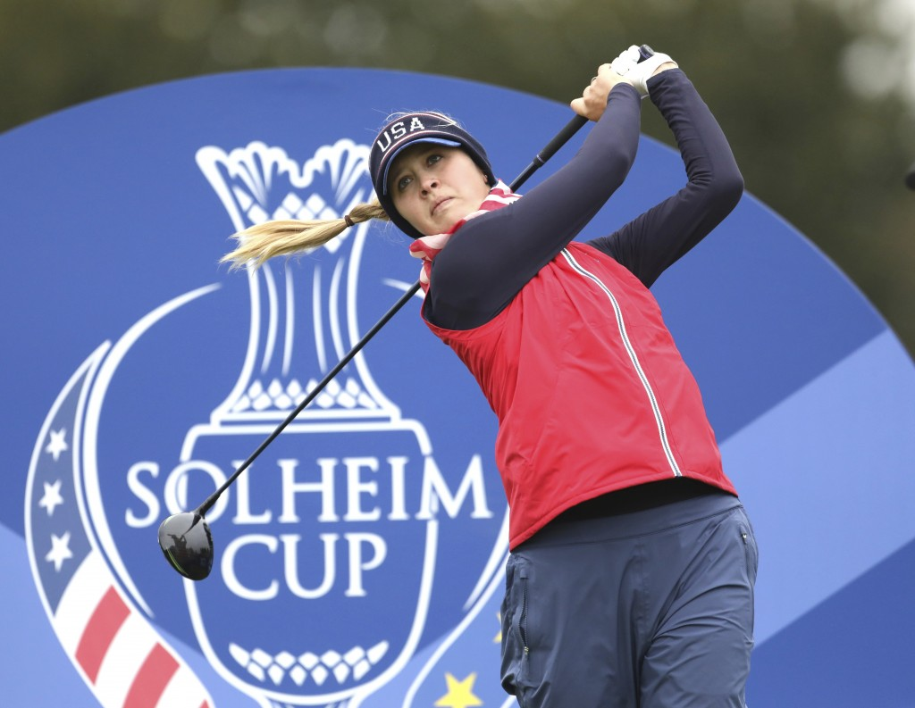 Jessica Korda of the US tees off on the 5th hole during a practice round for the Solheim cup at Gleneagles, Auchterarder, Scotland, Thursday, Sept. 12...
