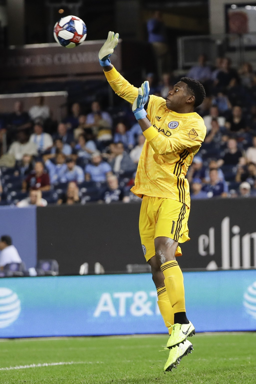 New York City FC goalkeeper Sean Johnson deflects a shot on the goal during the second half of an MLS soccer match against Toronto FC Wednesday, Sept.