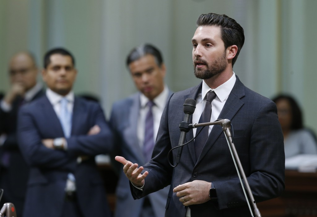 Assemblyman Ian Calderon, D-Whittier, urges lawmakers to approve a measure to give new wage and benefit protections at the so-called gig economy compa...