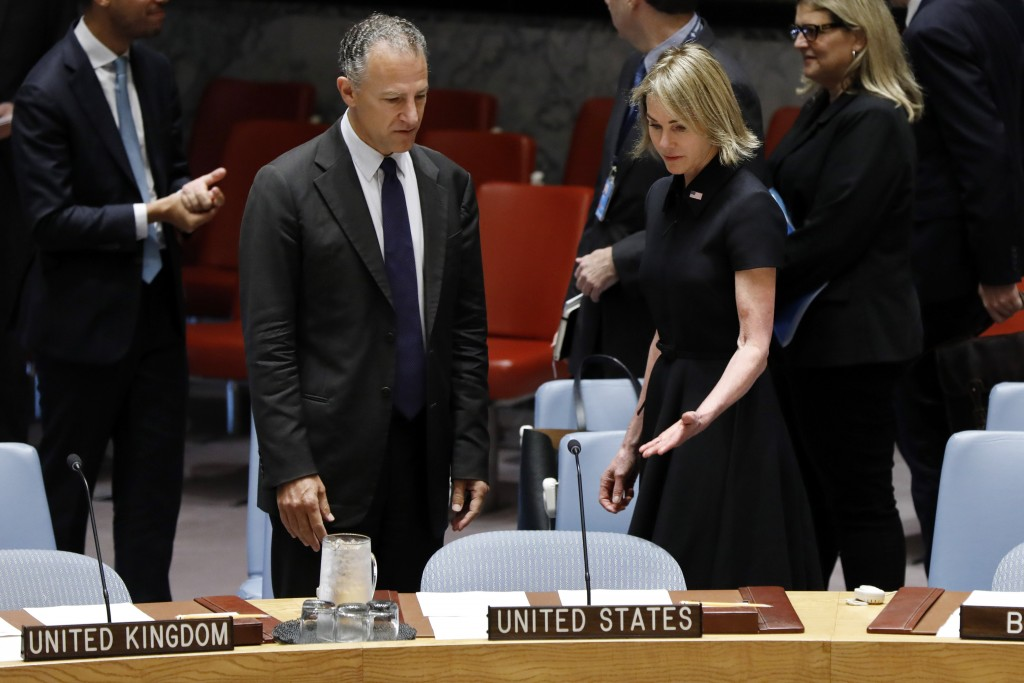 New U.S. Ambassador Kelly Craft talks with United States Deputy Representative to the United Nations Jonathan Cohen as she attends her first Security
