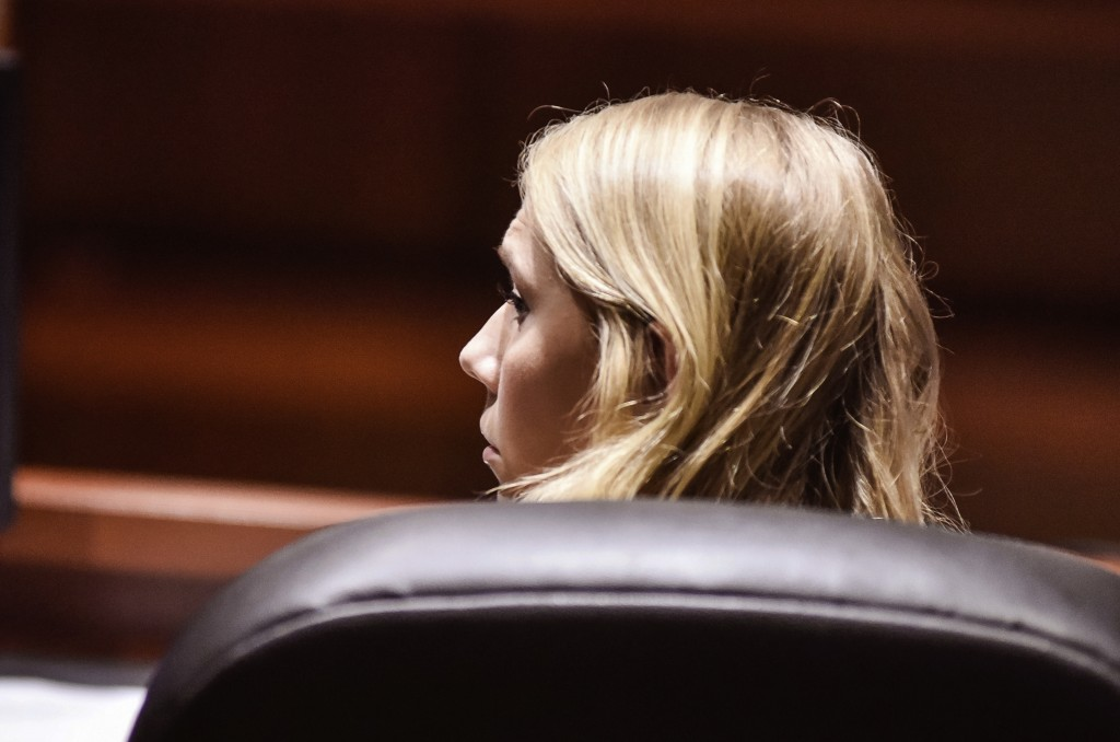 "Brooke ""Skylar"" Richardson sits in the courtroom before closing arguments in her trial at Warren County Common Pleas Court Thursday, Sept. 12, 2019 in"